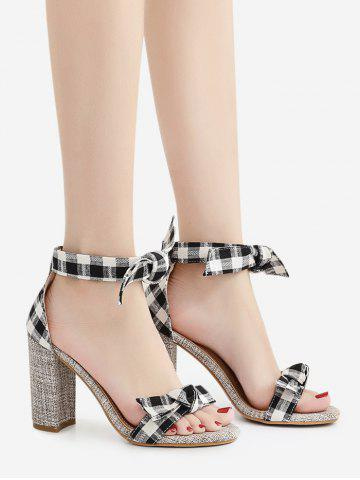Sale Plaid Pattern Bowknot Sandals - 38 BLACK Mobile