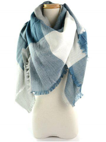 Online Fringe Brim Checked Long Wrap Scarf