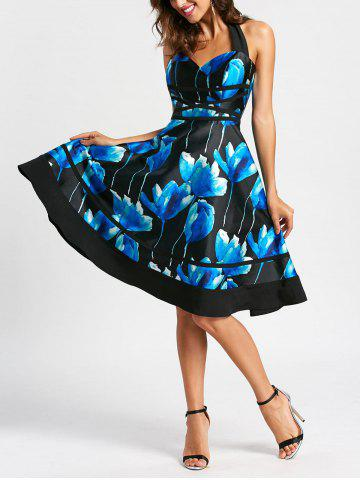 Discount Flower Ink Print Halter 50s Swing Dress - S COLORMIX Mobile