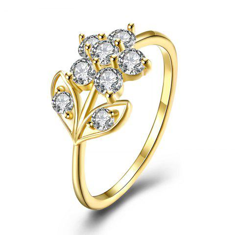 Cheap Rhinestone Leaf Flower Finger Ring - 9 GOLDEN Mobile