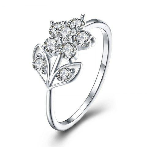Trendy Rhinestone Leaf Flower Finger Ring - 8 SILVER Mobile