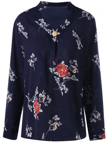 Button Floral Long Sleeve Top