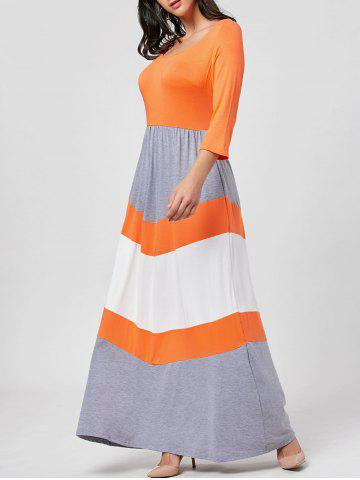 Affordable Chevron Stripe Scoop Neck Maxi Dress - 2XL ORANGE Mobile