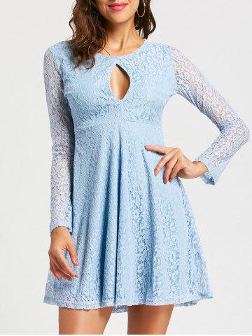 Unique Keyhole Empire Waist Long Sleeve Lace Dress - M LIGHT BLUE Mobile
