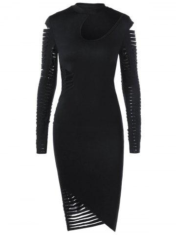 Trendy Ripped Sleeved Bodycon Fitted Cut Out Dress