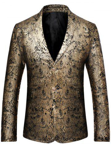 Affordable Floral Paisley Pattern Lapel Gilding Blazer - M GOLDEN Mobile