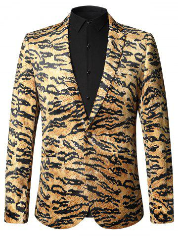 Outfits Leopard Print One-button Velvet Blazer COLORMIX 50