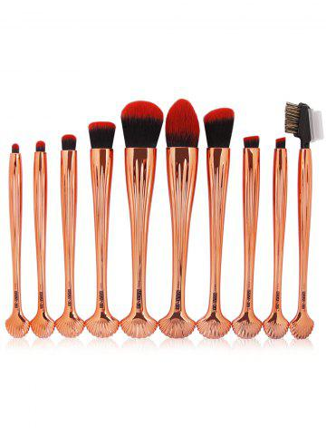 Hot 10Pcs Shell Shape Multifunction Gradient Color Brushes Set BLACK AND GOLDEN