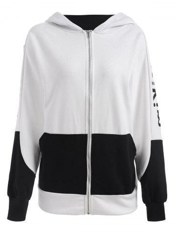 Latest Plus Size Letter Print Batwing Sleeve Hooded Jacket - 2XL WHITE Mobile