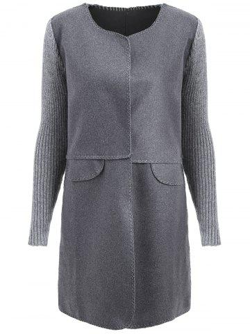 Discount Ribbed Long Sleeve Plus Size Coat GREY AND DARK GREY XL