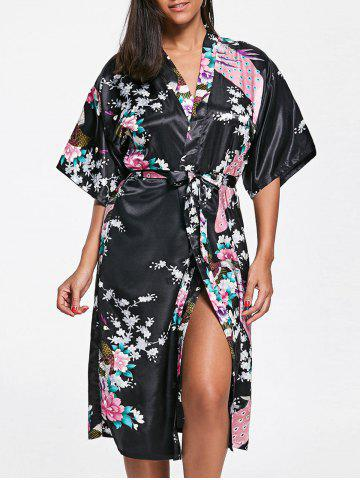 Fashion Belted Floral Satin Pajama Kimono BLACK S