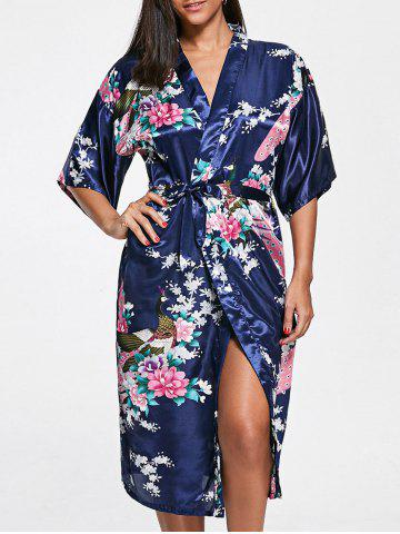 New Belted Floral Satin Pajama Kimono - 2XL DEEP BLUE Mobile