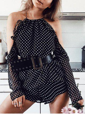 Outfits Cold Shoulder Polka Dot Top with Shorts BLACK M