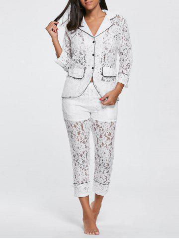 Hot Lace Shirt with Pants Pajama Set - XL WHITE Mobile