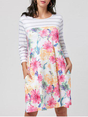 Trendy Casual Striped Floral Pocket Dress - S COLORMIX Mobile