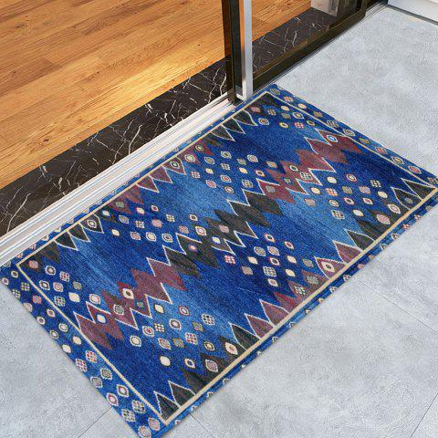 Store Ethnic Soft Coral Velvet Bathroom Rug - W16 INCH * L24 INCH BLUE Mobile