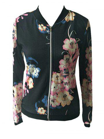 Cheap Full Zip Floral Jacket - M BLACK Mobile