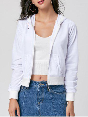 Fancy Ripped Hooded Zip Up Jacket - S WHITE Mobile