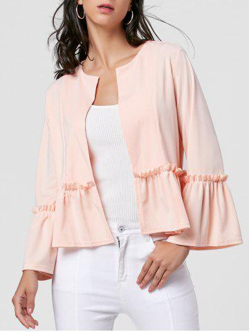 Trendy Flounce Flare Sleeve Short Jacket - XL PINK Mobile