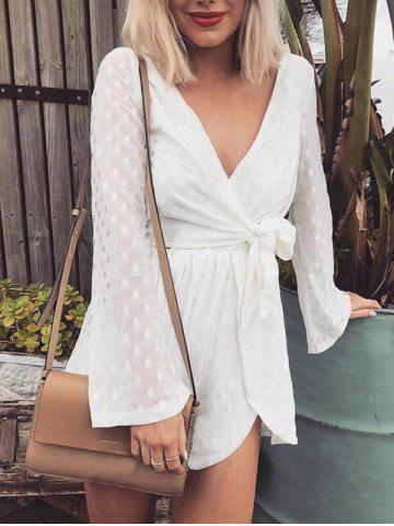Outfits Long Sleeve Wrap Mesh Romper WHITE S
