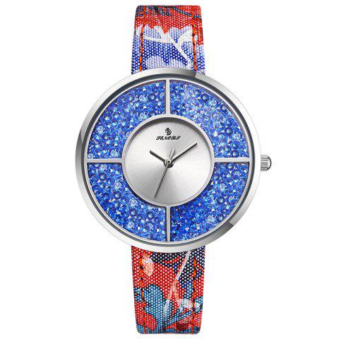 Best Floral Print Faux Leather Strap Rhinestone Watch
