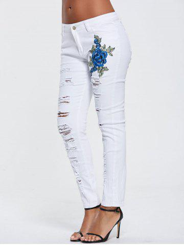 Outfit High Waisted Embroidered Ripped Skinny Jeans - M WHITE Mobile