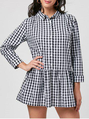 Hot Gingham Long Sleeve Drop Waist Shirt Dress BLACK WHITE L