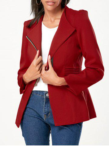 Trendy Zipper Ruched Tunic Blazer - L WINE RED Mobile