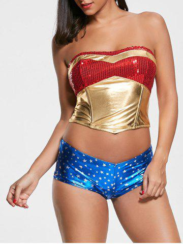 Outfit Sequins Women Hero Halloween Costume COLORMIX S