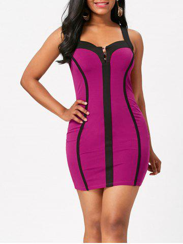 Fancy Color Block Sleeveless Bodycon Club Dress