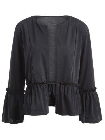 Trendy Flounce Flare Sleeve Short Jacket - XL BLACK Mobile