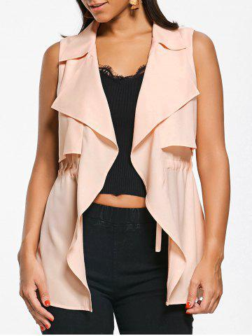 Discount Notched Collar Drawstring Overlap Waistcoat - L LIGHT APRICOT PINK Mobile