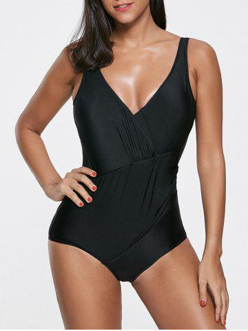 Unique Deep V Neck Open Back One Piece Swimsuit