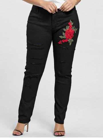 Buy Plus Size Ripped Floral Embroidered Jeans