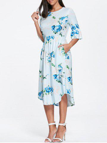 Store Pocket Floral Print Bell Sleeve Dress
