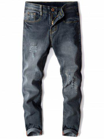 Affordable Slim Fit Zip Fly Distressed Faded Jeans