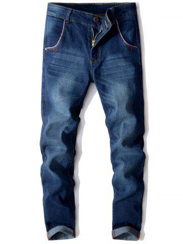 Affordable Slim Fit Button Embellished Zip Fly Jeans