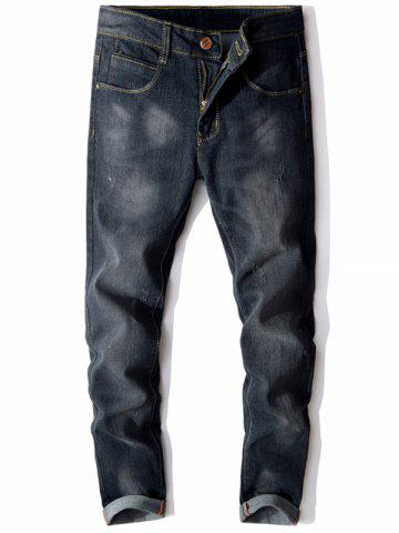 Shops Slim Fit Scratched Zip Fly Faded Jeans