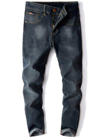 Store Zip Fly Cuffed Slim Fit Jeans