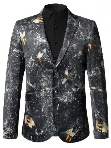 Honey Bee Print Casual Velvet Blazer