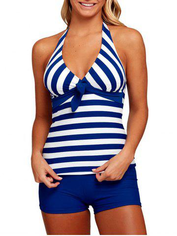 Affordable Striped Halter Sailor Tankini Set