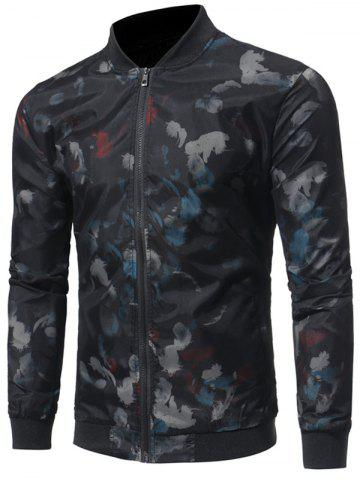 Store Zip Up Feather Print Bomber Jacket