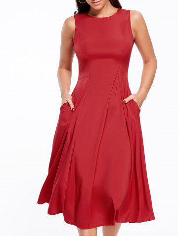 2018 Long A Line Sleeveless Semi Formal Plain Prom Dress In Red L