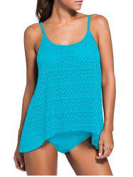 Crochet Openwork Cami Tankini Set - LAKE BLUE S