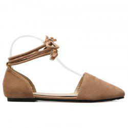 Suede Pointed Toe Tie Leg Flat Shoes - APRICOT 39