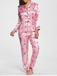 Floral Satin Long Sleeve Pajamas Set - PINK L