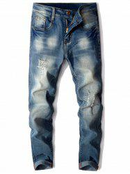 Slim Fit Zip Fly Distressed Faded Jeans - BLUE 34