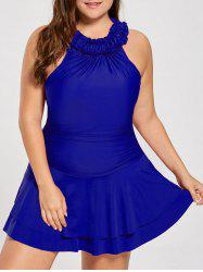 Plus Size Ruffle Padded High Neck One Piece Swimwear -