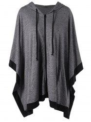 Hooded Zip Up Plus Size Cape Coat - Gris 4XL