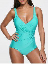 Deep V Neck Open Back One Piece Swimsuit -